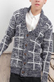 Blue and White Plus Size Slim Grid Buttons Men Cardigan for Casual