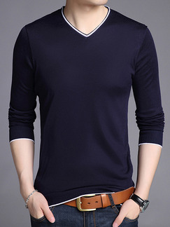 Blue Plus Size Slim Contrast V Neck Long Sleeve Men Sweater for Casual