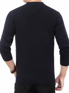 Black Grey and Green Plus Size Slim Round Neck Contrast Linking Long Sleeve Men Sweater for Casual