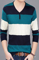Blue White and Green Plus Size Slim Contrast Stripe V Neck Buttons Long Sleeve Men Sweater for Casual