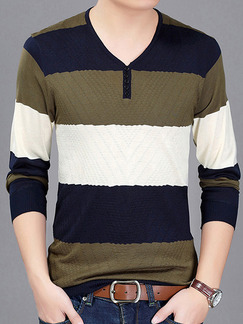 Brown Blue and White Plus Size Slim Contrast Stripe V Neck Buttons Long Sleeve Men Sweater for Casual