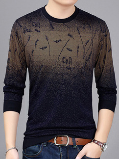 Blue Brown Plus Size Slim Round Neck Located Printing Long Sleeve Men Sweater for Casual
