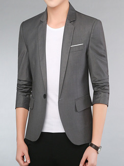 Grey Plus Size Slim Lapel Pockets Button Long Sleeve Men Suit for Office Evening