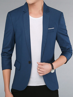 Blue Plus Size Slim Lapel Pockets Long Sleeve Men Suit for Office Evening Wedding
