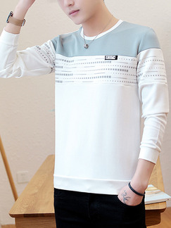White and Grey Plus Size Round Neck Contrast Located Printing Long Sleeve Men Sweater for Casual