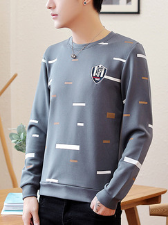 Grey Plus Size Slim Round Neck Located Printing Long Sleeve Men Sweater for Casual