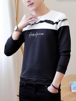 Blue and White Plus Size Round Neck Contrast Located Printing Long Sleeve Men Sweater for Casual