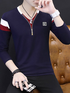 Blue Red and White Plus Size Slim Contrast V Neck Zipper Long Sleeve Men Shirt for Casual