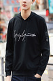 Black Plus Size Slim Hooded Drawstring Letter Printed Long Sleeve Men Hoodies for Casual