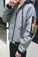 Grey and Black Plus Size Loose Hooded Ribbon Located Printing Pockets Zipper Long Sleeve Men Jacket for Casual