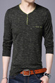 Black Plus Size Slim Contrast V Neck Buttons Men Sweater for Casual