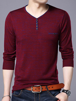Red Plus Size Slim Contrast V Neck Buttons Men Sweater for Casual