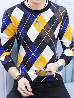 Colorful Plus Size Slim Contrast Grid Round Neck Men Shirt for Casual