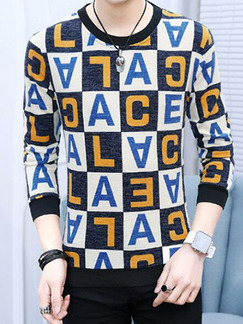 Colorful Plus Size Slim Contrast Printed Round Neck Men Shirt for Casual