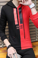 Black and Red Plus Size Slim Contrast Hooded Drawstring Letter Printed Long Sleeve Men Hoodies for Casual