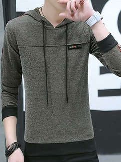 a9c75f5c69a Brown Plus Size Slim Hooded Drawstring Letter Printed Long Sleeve Men  Hoodies for Casual