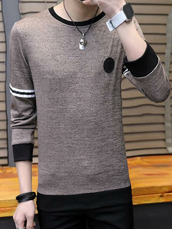 Brown and Black Plus Size Slim Round Neck Contrast Stripe Men Shirt for Casual