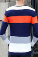 Colorful Plus Size Slim Contrast Stripe V Neck Long Sleeve Men Sweater for Casual