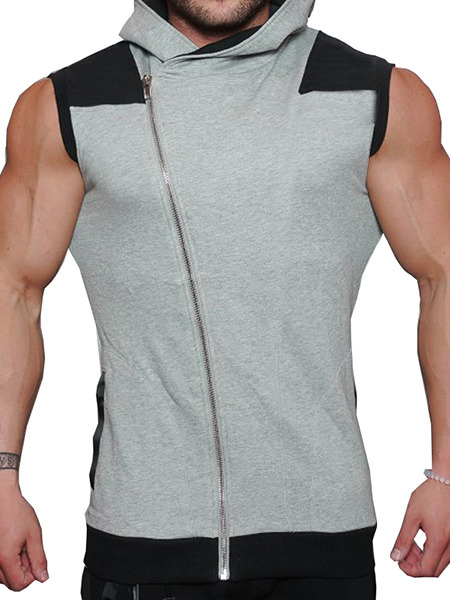 Grey and Black Plus Size Slim Hooded Zipper Pocket Men Vest for Casual