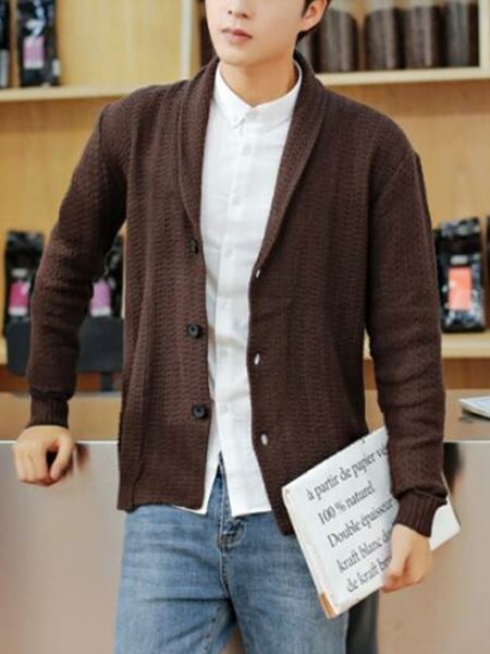 Brown Plus Size Loose Lapel Single-Breasted Long Sleeve Men Cardigan for Evening Office