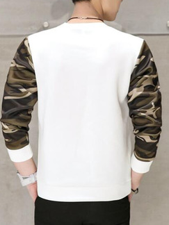 White Black Camoflouge Plus Size Slim Round Neck Linking Letter Printed Long Sleeve Men Sweater for Casual