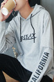 Grey Plus Size Hooded Drawstring Letter Printed Long Sleeve Men Hoodies for Casual