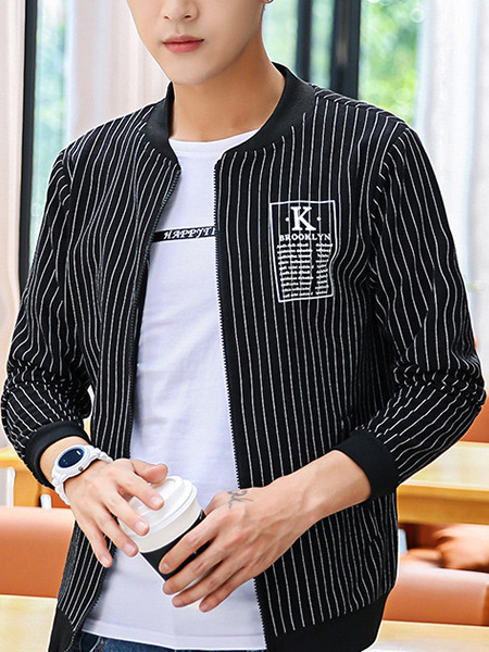 Black and White Plus Size Slim Stand Collar Vertical Stripe Zipper Long Sleeve Men Jacket for Casual
