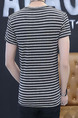 Black and Grey Plus Size Slim Round Neck Horizontal Stripe Men Shirt for Casual