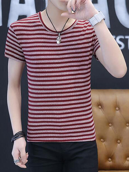 Red Plus Size Slim Round Neck Horizontal Stripe Men Shirt for Casual