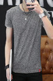 Grey Plus Size Slim Round Neck Contrast Linking Men Shirt for Casual