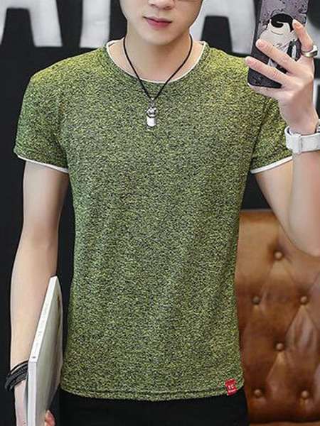 Green Plus Size Slim Round Neck Contrast Linking Men Shirt for Casual