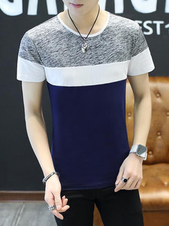 Grey White and Blue Plus Size Slim Round Neck Contrast Linking Men Shirt for Casual