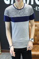 Grey and Blue Plus Size Slim Round Neck Contrast Linking Men Shirt for Casual