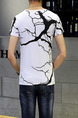White and Black Plus Size Slim Round Neck Printed Men Shirt for Casual