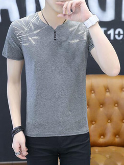 Grey Plus Size Slim Round Neck Buttons Embroidery Men Shirt for Casual