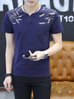 Blue Plus Size Slim Round Neck Buttons Embroidery Men Shirt for Casual