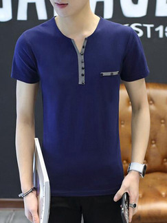 Blue Plus Size Slim Contrast Linking V Neck Buttons Men Shirt for Casual