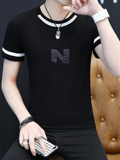 Black Plus Size Slim Contrast Linking Letter Printed Men Shirt for Casual