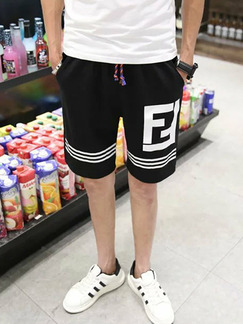 Black and White Plus Size Loose Contrast Linking Stripe Letter Printed Adjustable Waist Band Men Shorts for Casual Sports Fitness