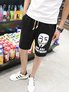 Black and White Plus Size Loose Letter Printed Located Printing Adjustable Waist Band Belt Men Shorts for Casual