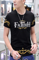 Black and Golden Plus Size Slim Round Neck Linking Contrast Located Printing Letter Printed Men Tshirt for Casual