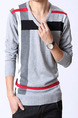 Grey Colorful Plus Size Knitted Stripe Slim Contrast Linking V Neck Long Sleeve Men Sweater for Casual