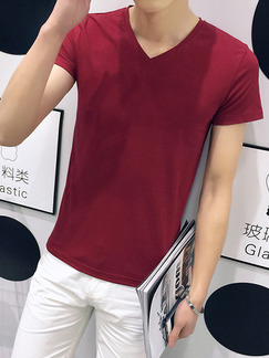 Red Plus Size Slim V Neck  Men Tshirt for Casual