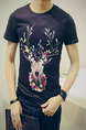 Black Colorful Plus Size Slim Round Neck Located Printing Men Tshirt for Casual