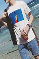 White and Blue Plus Size Loose Round Neck Contrast Linking Located Printing Men Tshirt for Casual