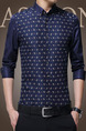 Blue Plus Size Slim Lapel Printed Single-Breasted Long Sleeve Men Shirt for Casual Office Evening