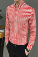 Red and White Plus Size Slim Lapel Contrast Stripe Single-Breasted Long Sleeve Men Shirt for Casual Office Evening