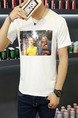 White Plus Size Loose Round Neck Linking Printed  Men Tshirt for Casual