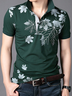 Green and White Plus Size Slim Lapel Located Printing Buttons Men Tshirt for Casual Party
