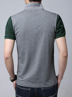 Grey and Green Plus Size Slim Lapel Contrast Linking Buttons Men Tshirt for Casual Office Party